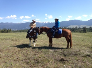 M and I horseback riding in Montana
